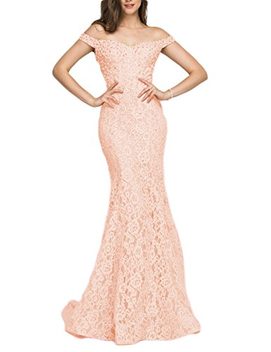 YSMei Women's Off Shoulder Beads Evening Celebrity Dress Off Shoulder Beading Formal Gown Peach -