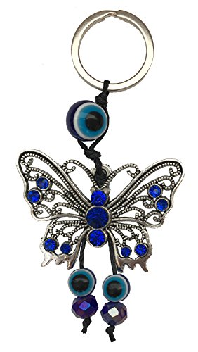 Blue Evil Eye Butterfly Charm Keychain Ring for Protection and Blessing, Great Gift (Ring Of The Evil Eye Dark Souls)