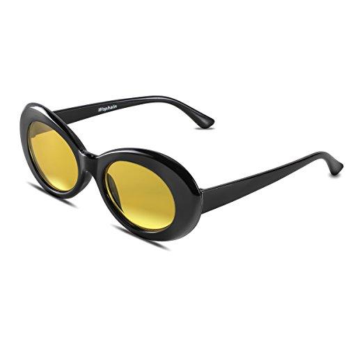 d9ea733244 Bold Retro Oval Mod Thick Frame Sunglasses