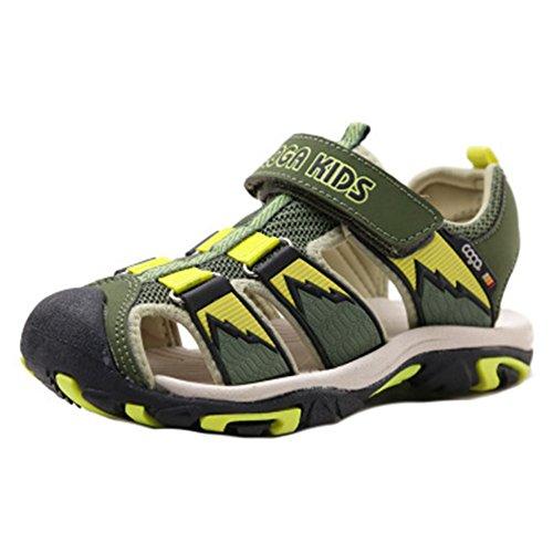 Juleya Verano al aire libre Velcro Sandalias Cerrado Toe plana zapatos de playa para los chicos unisex Brazo verde