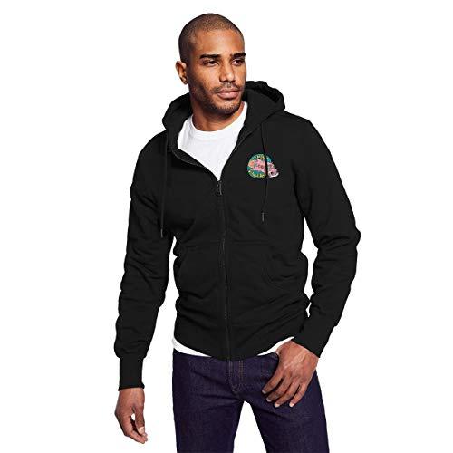 Rigg-hoodie Men's Black Zip-up Hoodie The Magic School Bus Particular Hooded Sweatshirt XL ()