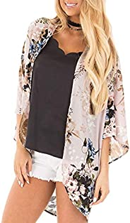 LUOWENXH Women's Floral Kimono Cardigans Chiffon Casual Loose Open Front Cover Ups Tops S