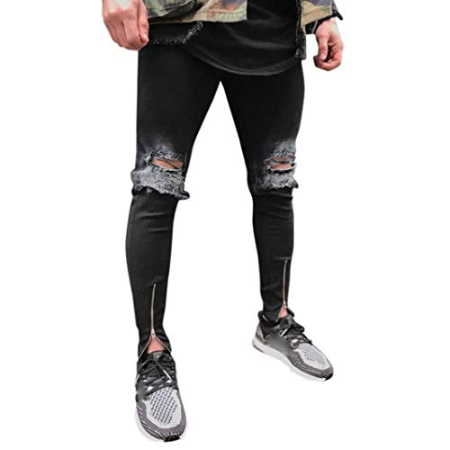 Stretch Uomo Denim Sport Slim Streetwear Fit Strappato Vintage Moto Jeans Hiphop Estate Nero Pantaloni 5IqvxZwa