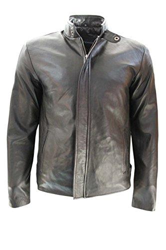 Hommes Nouvea 3890 Noir Blanc Stripe Biker Rider Fashion Style Nappa Veste en cuir