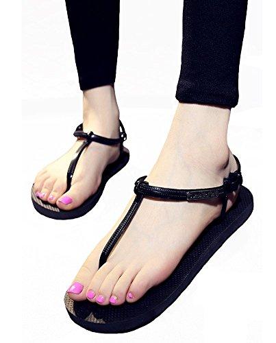 Infradito Da Donna Infradito T-strap Con Infradito Da Donna Idifu Open Toe Sandali Da Spiaggia Yoga Neri