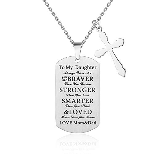 LoveBIG Always Remember You are Braver Than You Believe,to My Daughter Kids Child Birthday Gift Jewelry Dog Tag Keychain Pendant Necklace from Dad Mom