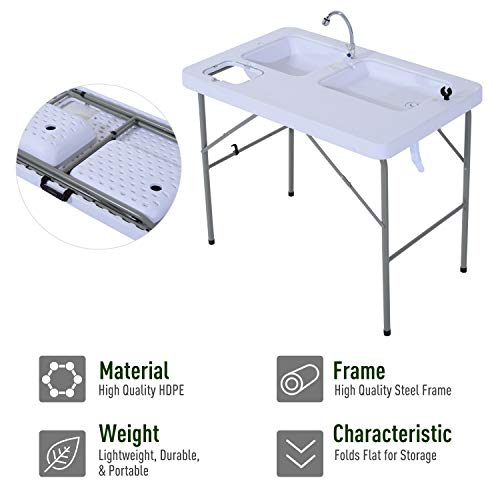 Outsunny Outdoor Durable Portable Folding Fishing Camp Table with Faucet