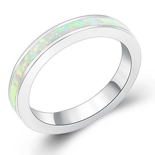 Sinlifu Eternity Ring Australia Fire Opal Silver Plated 3.5mm Wedding Band Jewelry for Women (White, 7) ()