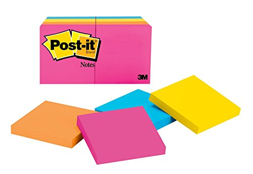 Post-it Notes, America's #1 Favorite Sticky Note, 3 x 3 Inches Neon Collection Notes, 8 Pads/Pack (654-8AN)