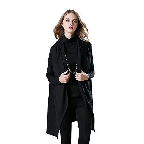 Elegante Elegante Elegante Stile Donna Modern Cardigan Cardigan Cardigan Cappotto Bavero Glamorous Outwear Baggy Autunno Manica Coat Casual Schwarz Lunga Semplice 1R5q6R