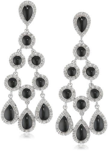 Sterling Silver Diamond Dangle Black Enamel Earrings (1/2...