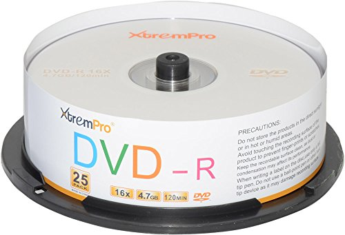 XtremPro DVD-R 16X 4.7GB 120Min DVD 25 Pack Blank Discs in Spindle - 11031 by XtremPro