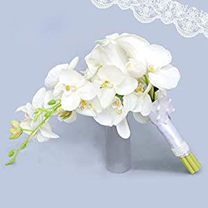 Baisheng Elegant Cascade Bridal Bouquet- ivory artificial Calla Lily and orchids 25
