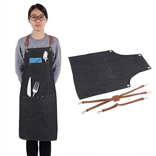 Acquisto Fdit Grembiule Denim Grembiule di Jeans da Cucina con Tasca Bowknot Moda Caffettiera Cuoco Cucina Giardiniere Regolabile Shop Chef Grembiule per Uomini e Donne(A) Prezzi offerta