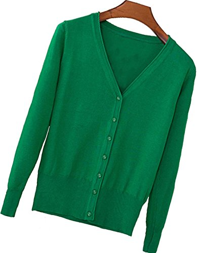 S.S Womens V-Neck Button Down Long Sleeve Crew Neck Soft Classic Basic Knit Cardigan Sweater (S-3X) (Large, Green) Green Cotton Cardigan Sweater