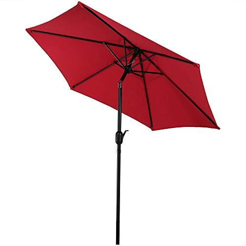 Sunnydaze 7.5 Foot Outdoor Patio Umbrella with Tilt & Crank, Aluminum, Red