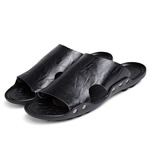 pelle spiaggia EU Color in Sandali da morbida Sandali suola Dimensione 44 Nero da Pantofole Nero antiscivolo uomo con vera BINODA KUqtYpww