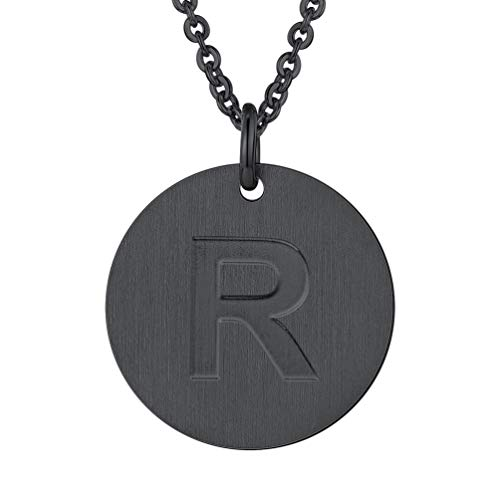 PROSTEEL Initial Letter Necklaces Monogram Alphabet R Minimalist Bridesmaid Personalized Jewelry Friendship Gift Black Coin Men Women Necklace