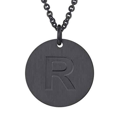 PROSTEEL Initial Letter Necklaces Monogram Alphabet R Minimalist Bridesmaid Personalized Jewelry Friendship Gift Black Coin Men Women Necklace ()