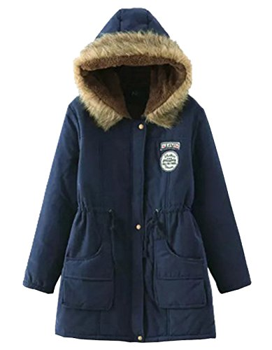 Invierno Capucha Parkas Caliente Azul Abrigo Casual Mujer largo Chaqueta con 1cqwYf5qr