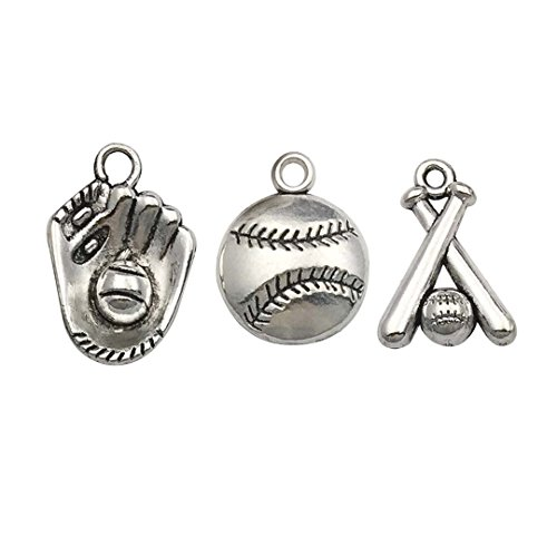 Youdiyla 60pcs Baseball Theme Charms Collection - Mixed Antique Silver Bat Glove Ballgame Sports Ball Softball Metal Alloy Pendants for Jewelry Making DIY Findings (HM130)