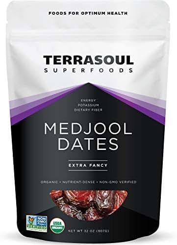 Terrasoul Superfoods Organic Medjool Dates, 2 Lbs - Soft Chewy Texture | Sweet Caramel Flavor | Farm Fresh