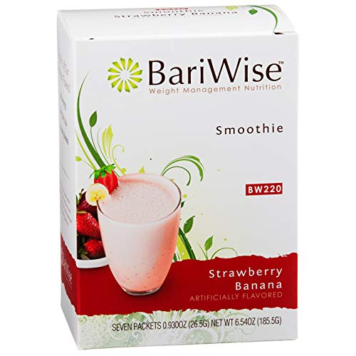 BariWise High Protein Fruit Smoothie / Low-Carb Diet Smoothies - Strawberry Banana (7 Servings/Box) - Low Carb, Low Calorie, Low Fat, Gluten Free, Aspartame Free