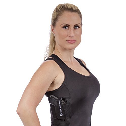 CCW Tactical Holster Shirt Tank Top for Concealed Carry and Workout Womens Compression Fit with Right and Left Hand Draw Handgun and Magazine Pockets, All Season Moisture Wicking, Black, M