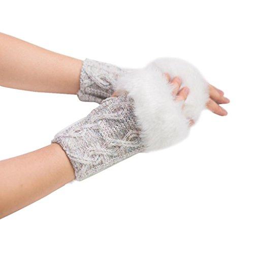 imitación ® Ouneed invierno dedos cálidas piel Guantes de calientes Mujeres Mujeres de para mitones conejo guantes Beige fWW8cF