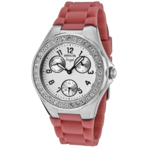 Invicta Women's 1642 Angel Crystal Accented White Dial Pink Silicone Watch