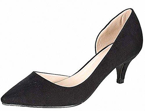 ANNIE PINKY KARA-03 Women's Chic Basic D'orsay Dress Pumps, Color:BLACK, Size:8