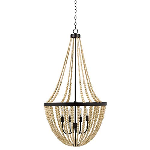 Stone Beam Modern Farmhouse Natural 4-Light Wood Chandelier, 45.5 H, With Bulbs, Real Wood Beads