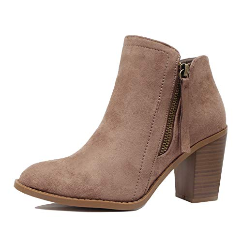 Guilty Heart | Womens Comfortable Block Chunky Mid Heel Ankle Western Bootie Boots Taupev1 Suede