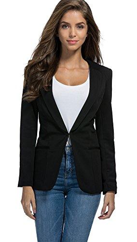 SiYuan Womens Casual Solid Color Blazer Elegant Work Jacket Lightweight US6/Asian XL Black - Black Asian Boyfriend