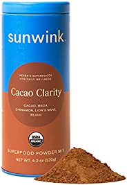 Sunwink Cacao Clarity Organic Superfood Powder Mix for Energy, Focus, and Endurance, Plant Drink Mix with Caca