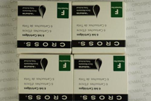24 Genuine Cross Black Fountain Pen Ink Cartridges 4 packs of 6 Cartridges in cross boxes supplier