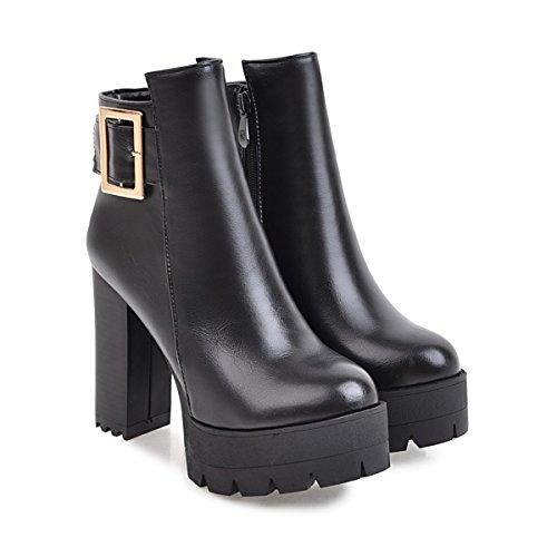 YE Damen Blockabsatz Ankle Boots Stiefeletten High Heels Plateau mit Schnalle und Reißverschluss Elegant Schuhe Schwarz