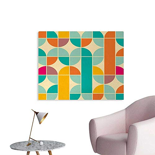 - Tudouhoho Retro The Office Poster Pop Art Funky Unusual Geometric Forms Mosaic Style Old Fashioned Artistic Graphic Photographic Wallpaper Multicolor W36 xL32