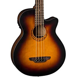 Luna Tribal 34″ Scale Acoustic-Electric Bass Guitar, Tobacco Sunburst