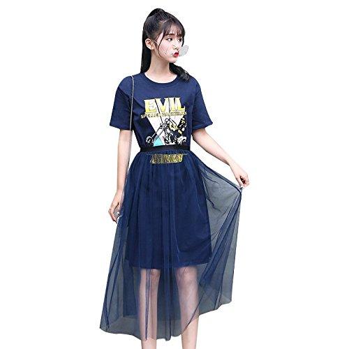 Shirt la Robes Deux Moyenne pices Longueur Chemise MiGMV XL Gaze Nouveau Robe Bas Black Shirt T en OxqqFUY