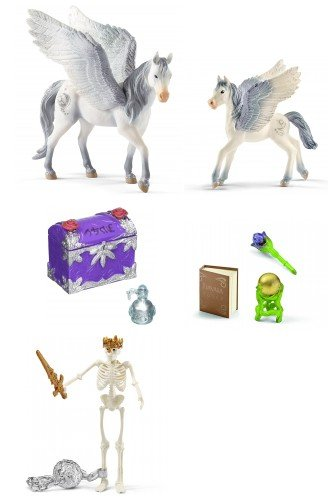 Schleich Fantasy Bayala Set of 3 Figures and 2 Accessories: Two Pegasuses (70522/70543), Magic and Spell Sets (42178/42179) with Skeleton (42150) Bagged and Ready to Give