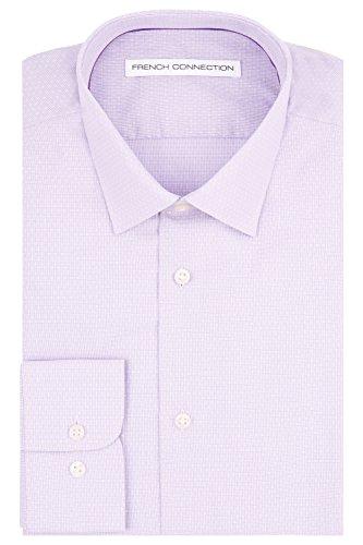 French Connection Slim Fit Lilac Knopfmanschette Textur Mini Gingham Hemd 17 Violett