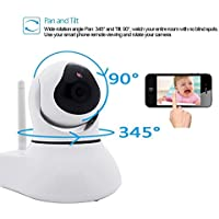 [Security WIFI IP Camera] J-DEAL® Indoor Wireless Day Night Baby Monitor / Surveillance WIFI Network CCTV IR Security Camera (iOS & Android Mobile View, Motion Detection, pan 345° tilt 90°) White