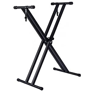 Adjustable Music Keyboard Electric Piano X-Stand Metal Dual Tube Standard Rack Folds Flat For Easy Storage Protective Rubberized End Caps Brand New