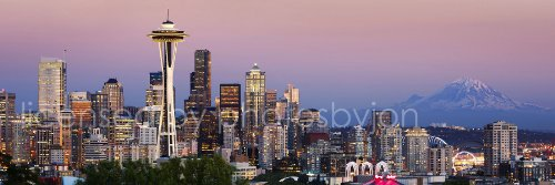 Seattle Skyline PHOTO PRINT UNFRAMED Dusk Color City Downtown 11.75 inches x 36 inches Rainier Photographic Panorama Poster Picture Standard - Shops Seattle Downtown