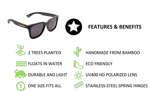 eac484d872 Bamboo Wood Sunglasses for Men   Women - Polarized handmade wooden wayfarer  style shades that float
