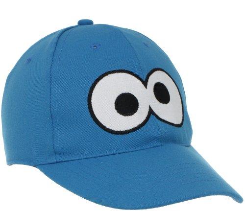 (UPF 50+ Coppertone/Sesame Street UV Headwear Little Boys' Cookie Monster Big Face Ball Cap, Cookie Monster Blue,)