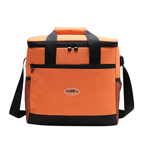Islandse Lunch Box Bag Tote Hot Cold Insulated Thermal Cooler Travel Work School Picnic (Orange)
