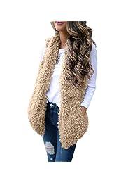 Vanvler Women Waistcoats Sleeveless, Ladies Warm Faux Fur Vest Casual Outwear