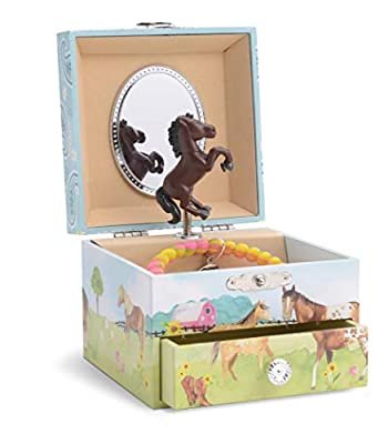 Jewelkeeper Girl's Musical Jewelry Storage Box Pullout Drawer, Horse and Barn Design, Home on The Range Tune